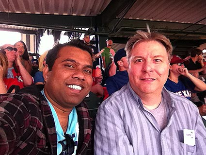 Mahbub and Steve at the Texas Rangers opening game.
