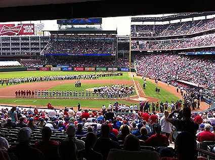 Texas Rangers season opener against the Phillies.