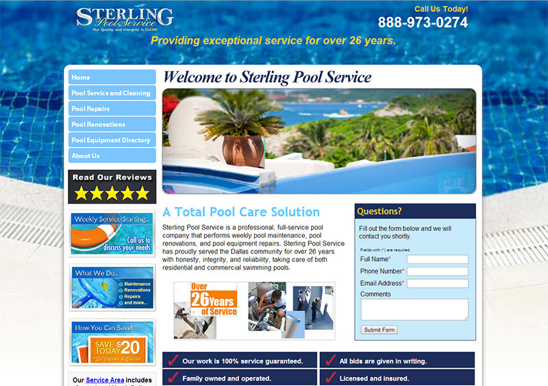 Sterling Pool Service Website